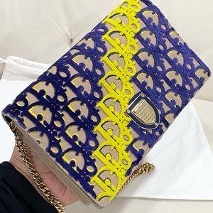 💙💛CHRISTIAN DIOR Velvet Yellow & Blue Bag